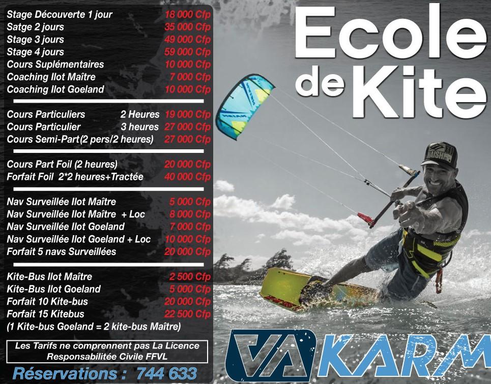 Tarifs cours de kite
